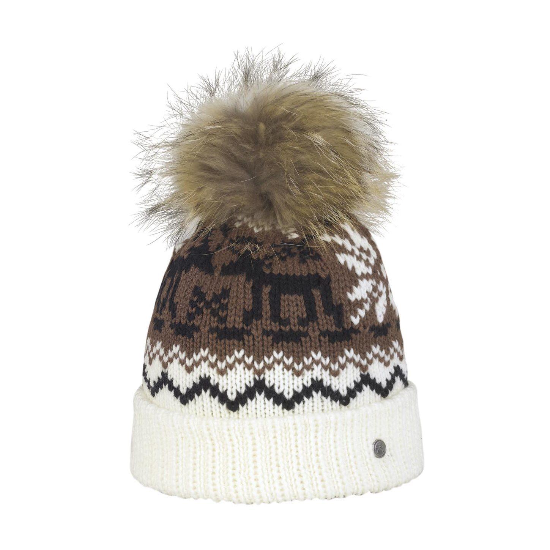 Bonnet Blanc Norvège Pompon Racoon