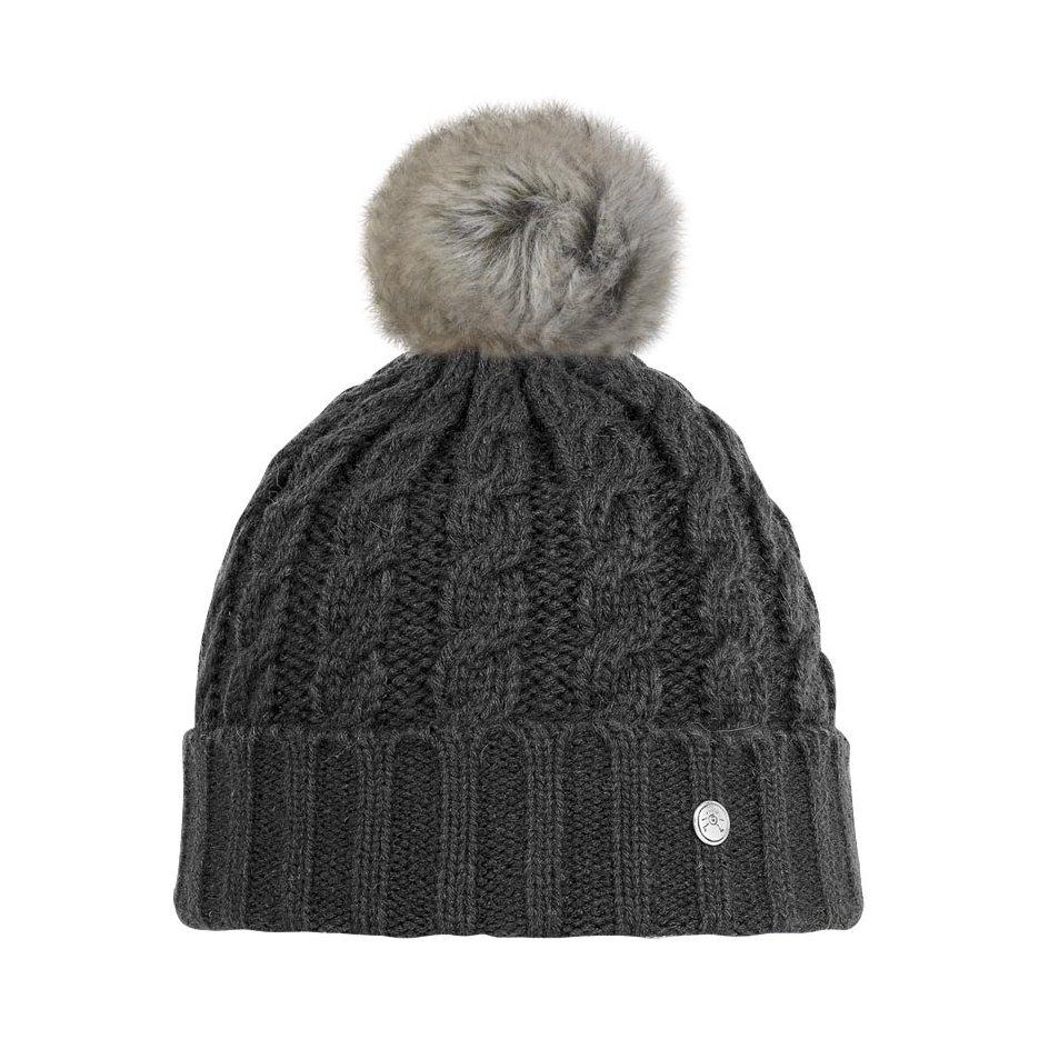 bonnet noir avec pompon fourrure eco imitation lapin. Black Bedroom Furniture Sets. Home Design Ideas