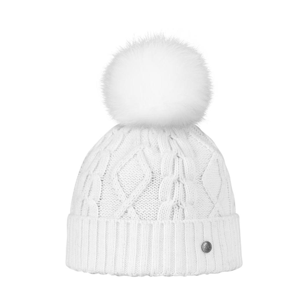 Bonnet Blanc avec Pompon Fourrure Renard