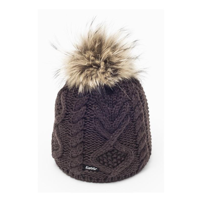 1a5d02977f2 Mirella Dark Brown Fur Pom Pom Hat