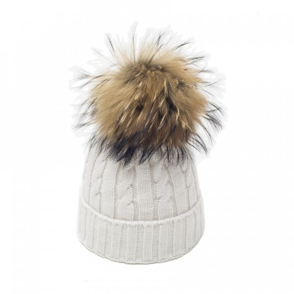 bonnet pompon fourrure big racoon