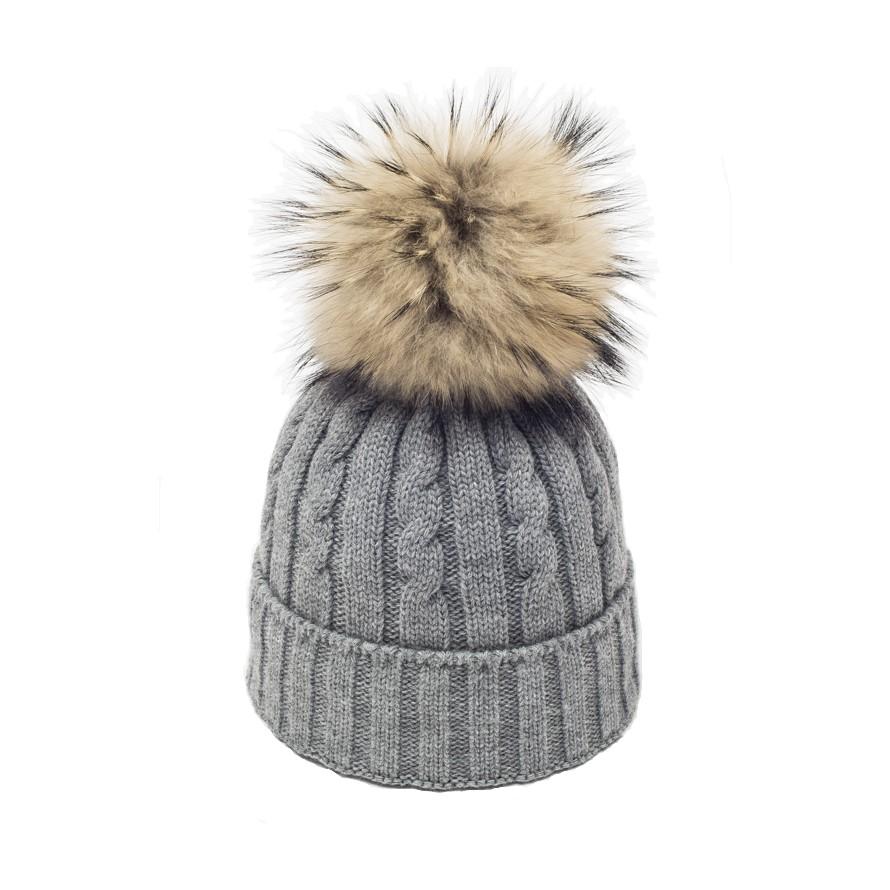 7a982e293ab Big Grey Racoon Fur Pompom Hat