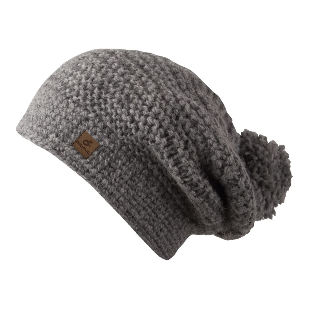 Dina Grey Oversized Bobble Beanie - Long Hat Chillouts e48508e7459