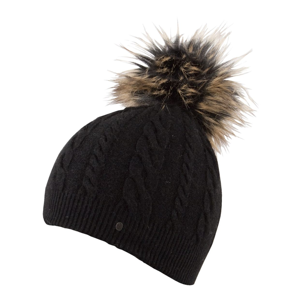 Black Vanessa Fake Fur Bobble Hat - Chillouts Fur Hats 2c1a088b600
