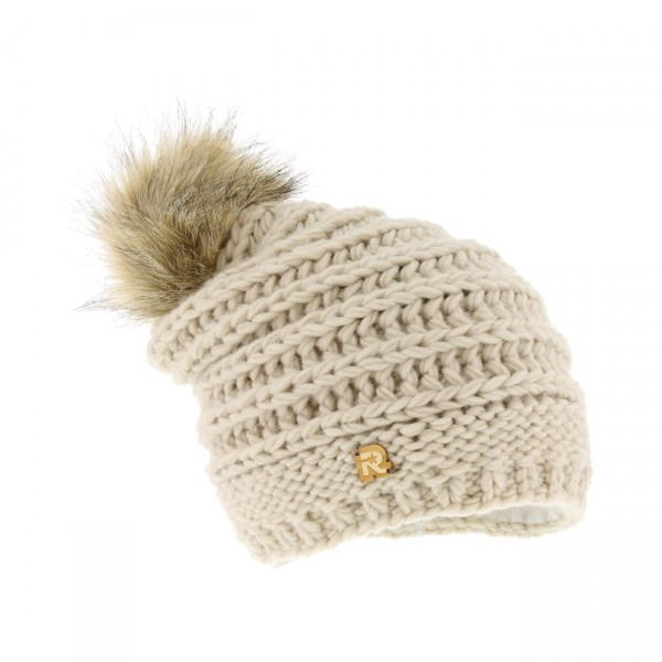 long beanie fake fur beige