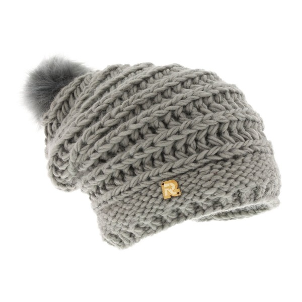long beanie fake fur grey
