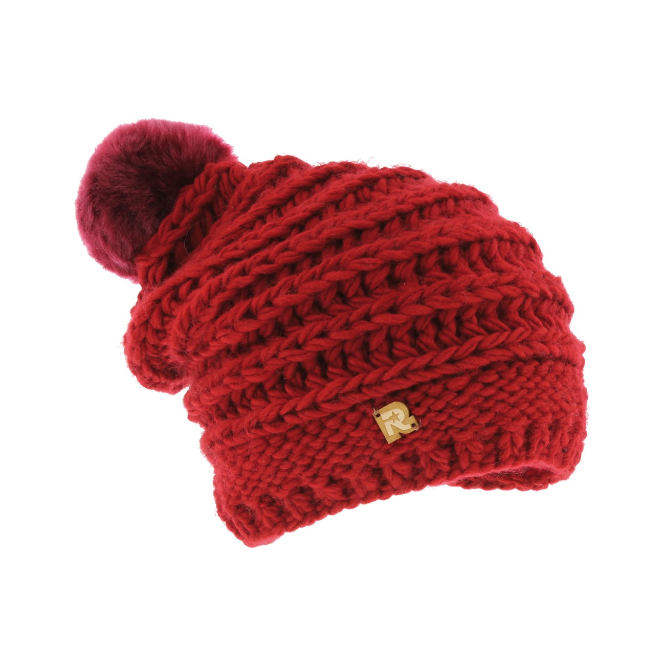 long fake fur beanie red
