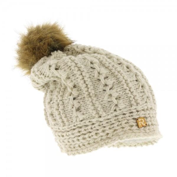 bonnet long pompon fausse fourrure COLD 3117 beige