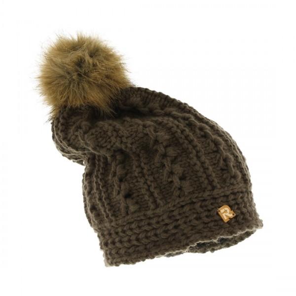 bonnet long pompon fausse fourrure COLD 3117 marron