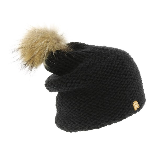 bonnet long pompon fourrure racoon