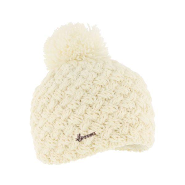 bonnet pompon Herman JUSTIN-8100-ECRU