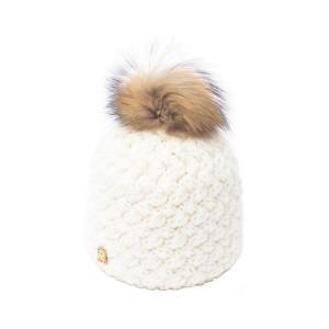 bonnet pompon fourrure racoon ICE-8137 écru 3