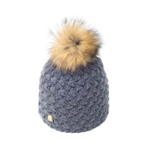 bonnet pompon fourrure racoon ICE-8137 anthracite 3