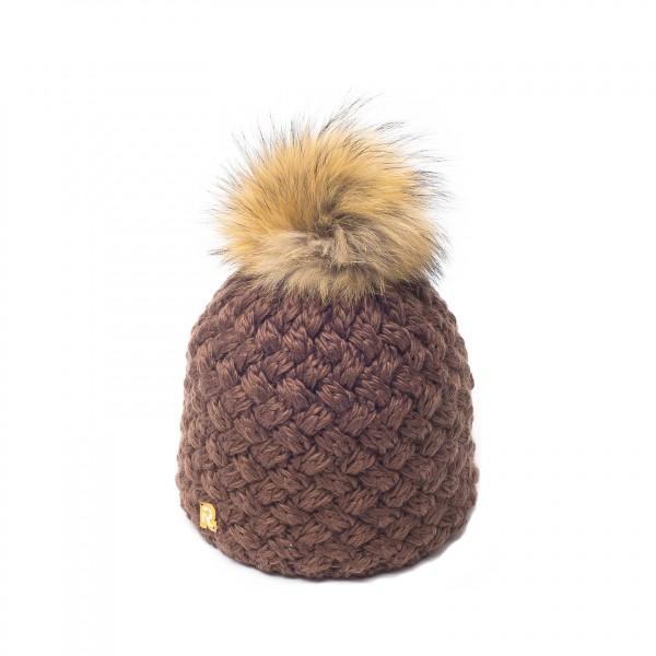 bonnet pompon fourrure racoon ICE-8137 marron 3