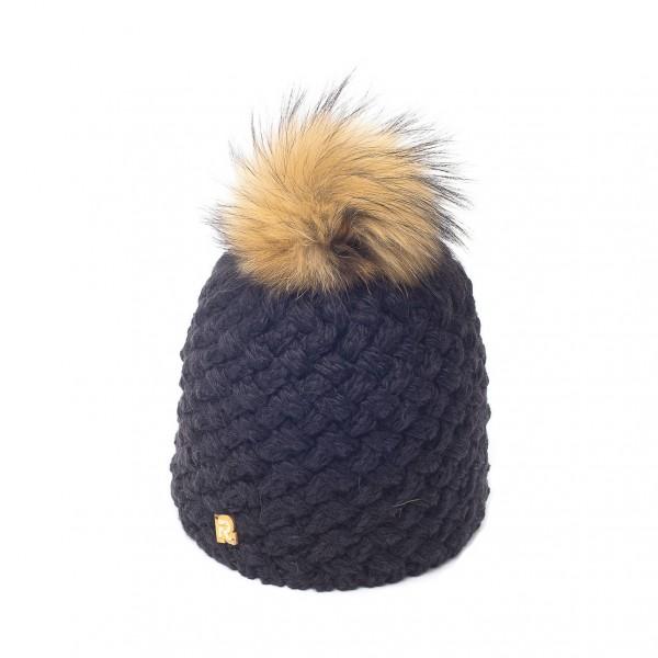 bonnet pompon fourrure racoon ICE-8137 noir 3