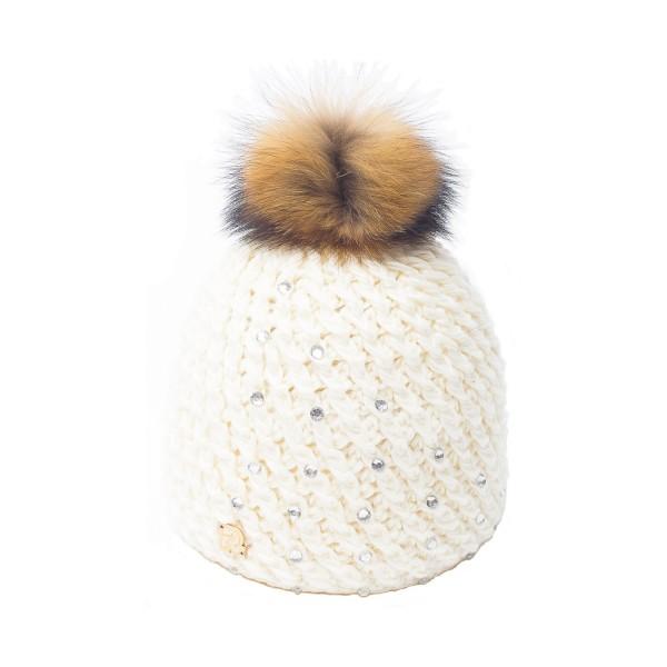 bonnet pompon fourrure racoon ICE-8151 écru 3