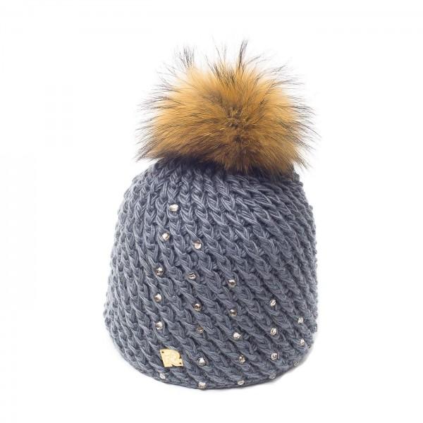 bonnet pompon fourrure racoon ICE-8151 gris 3