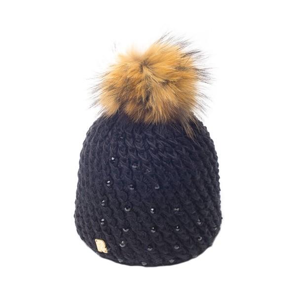bonnet pompon fourrure racoon ICE-8151 noir 3