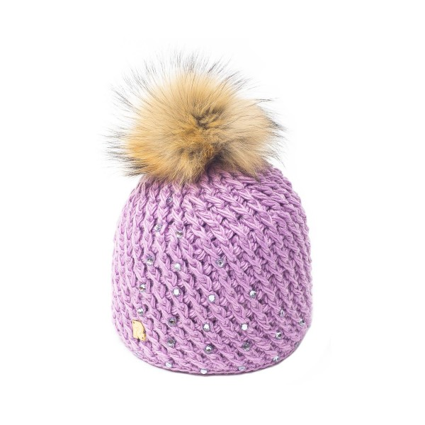 bonnet pompon fourrure racoon ICE-8151 rose 3