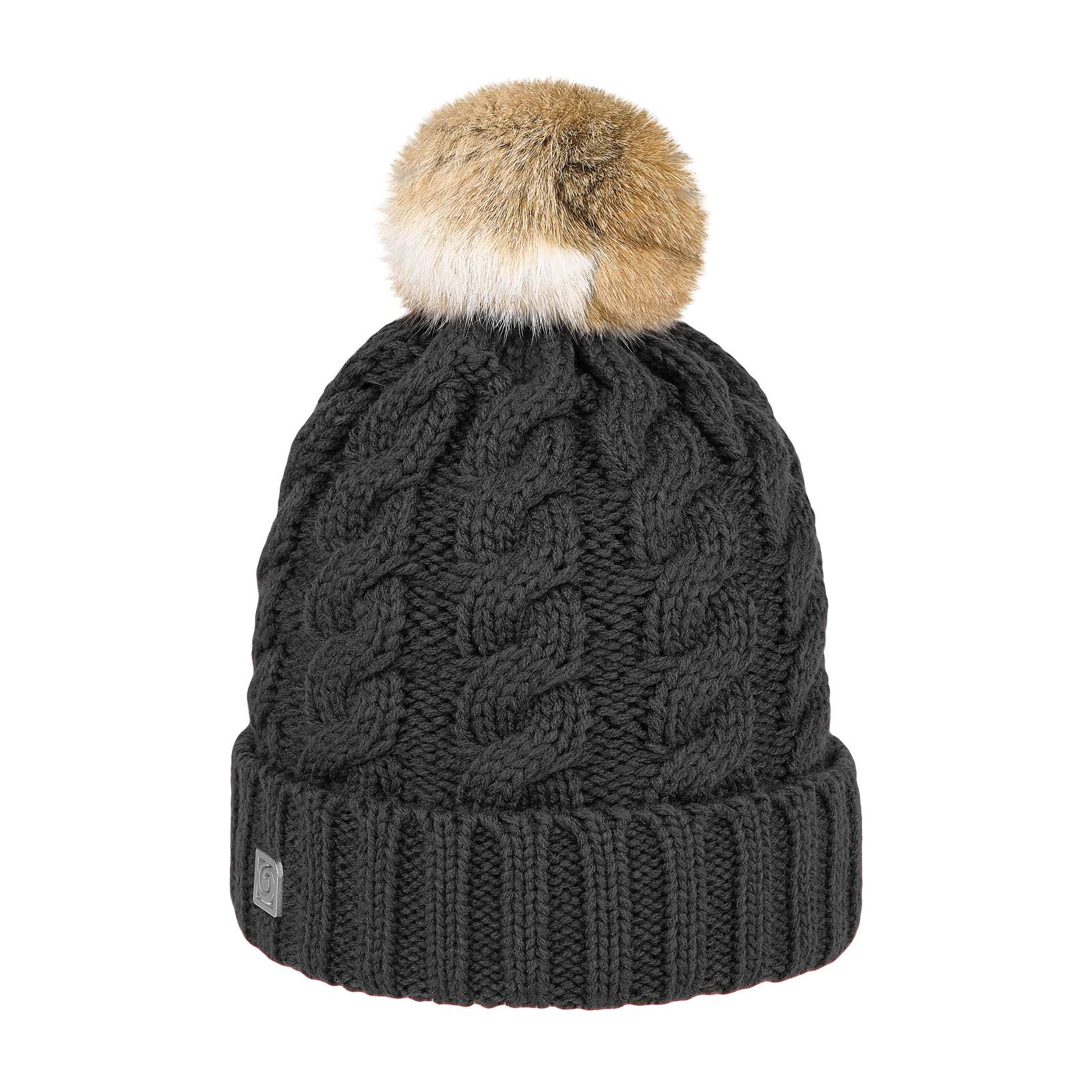 e0506a75195 Black Rabbit Pom Pom Hat - fur pom pom hat