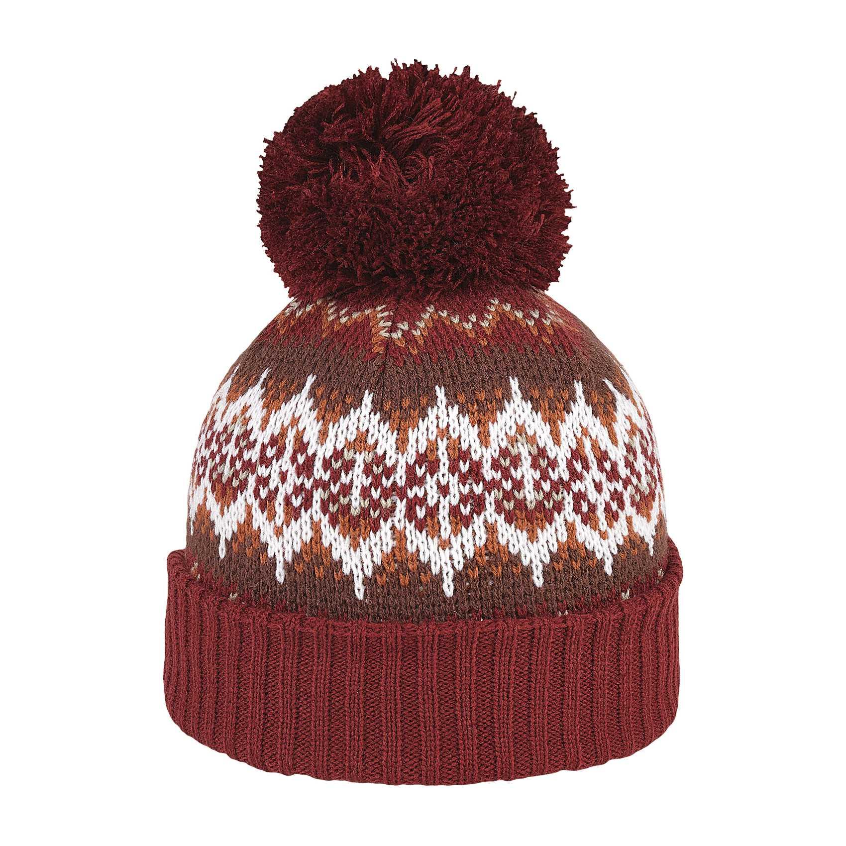 Burgundy Yorkshire Bobble Hat - Pom Pom Beanie c99d1aef84b