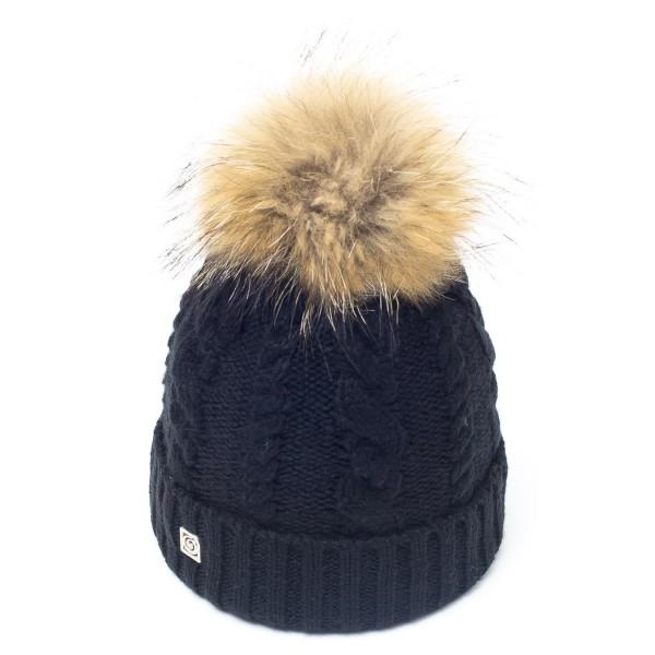 bonnet pompon fourrure racoon noir