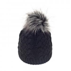 bonnet Karo noir fausse fourrure argenté