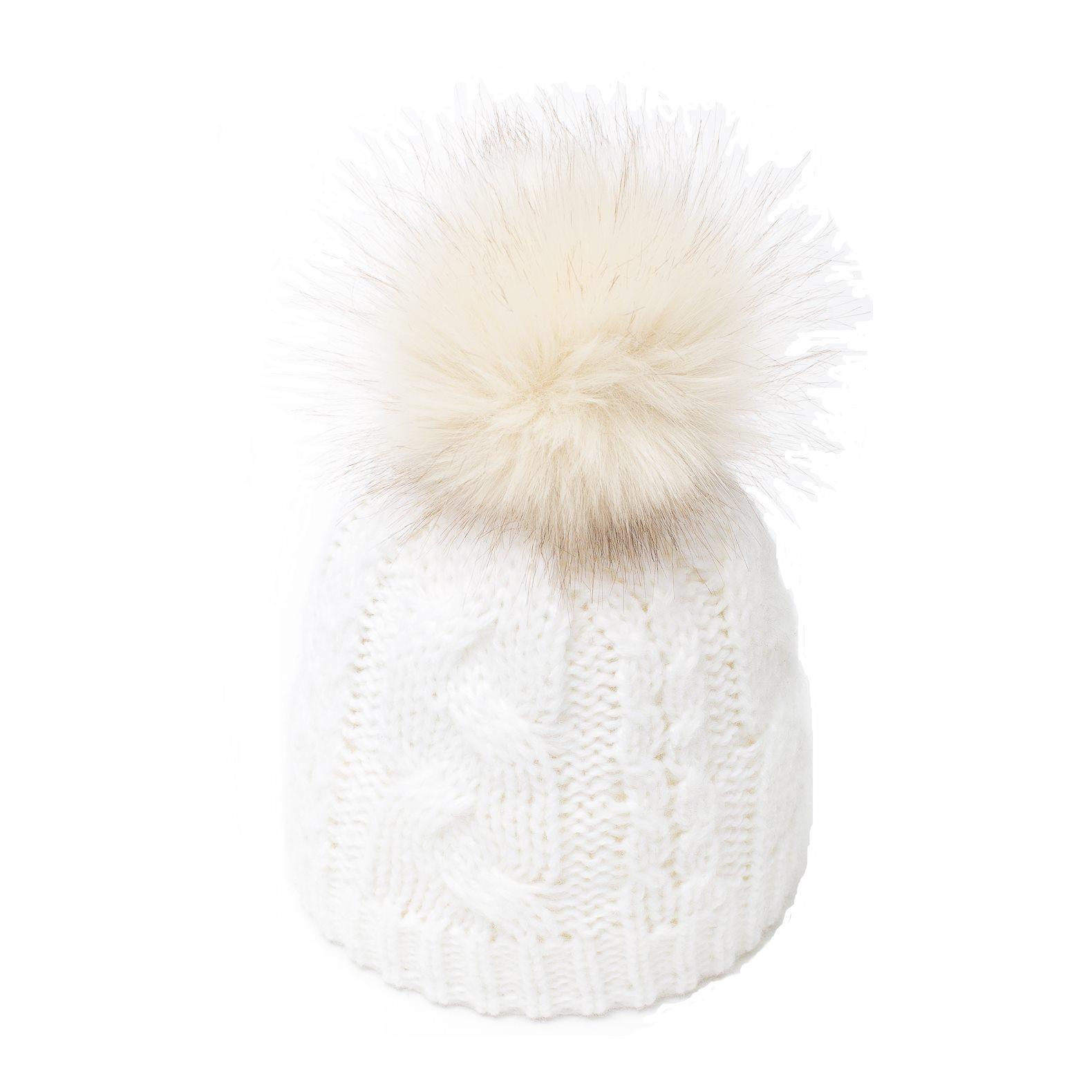e3a8d30fea Bonnet Pompon Fausse Fourrure Sabi Blanc - Bonnet Femme