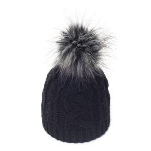 bonnet Sabi noir pompon fausse fourrure