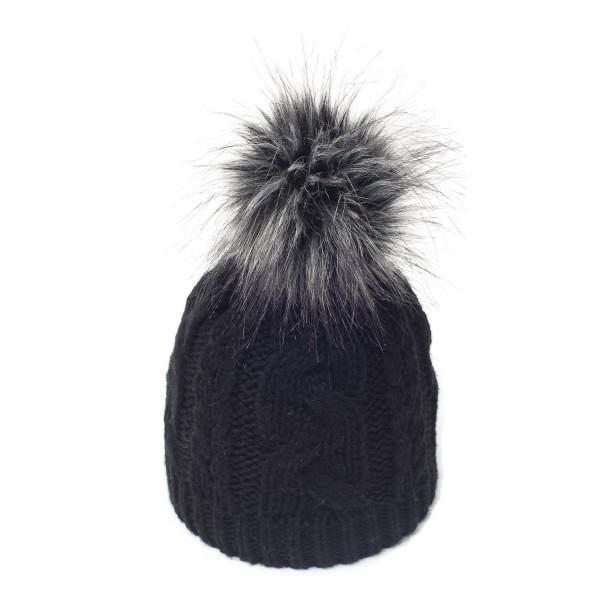 bonnet pompon fausse fourrure sabi noir bonnet femme. Black Bedroom Furniture Sets. Home Design Ideas