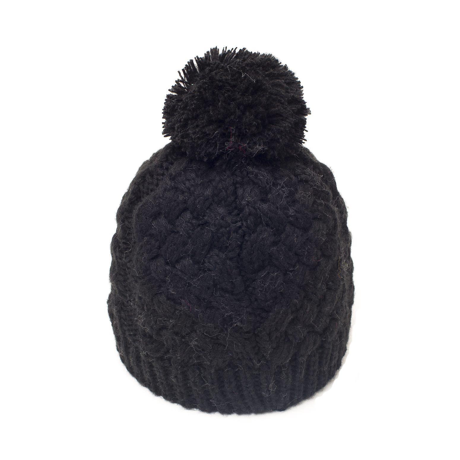 bonnet pompon karo noir bonnet femme. Black Bedroom Furniture Sets. Home Design Ideas
