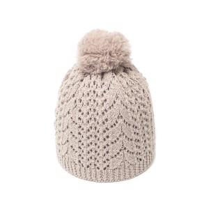 bonnet pompon c3 beige