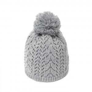 bonnet pompon c3 gris