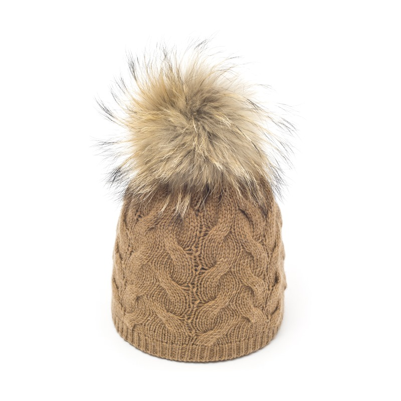 Dark Beige Little Français Fur Pom pom Hat fad3a469957
