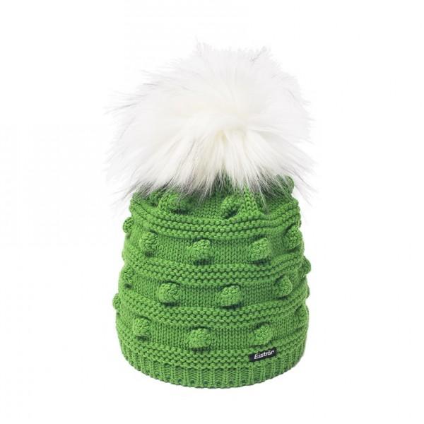 Bonet pompon fourrure joy lux vert