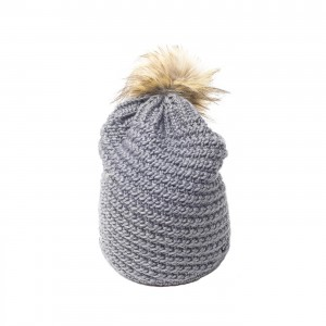 eisbar bonnet pompon fourrure boho gris