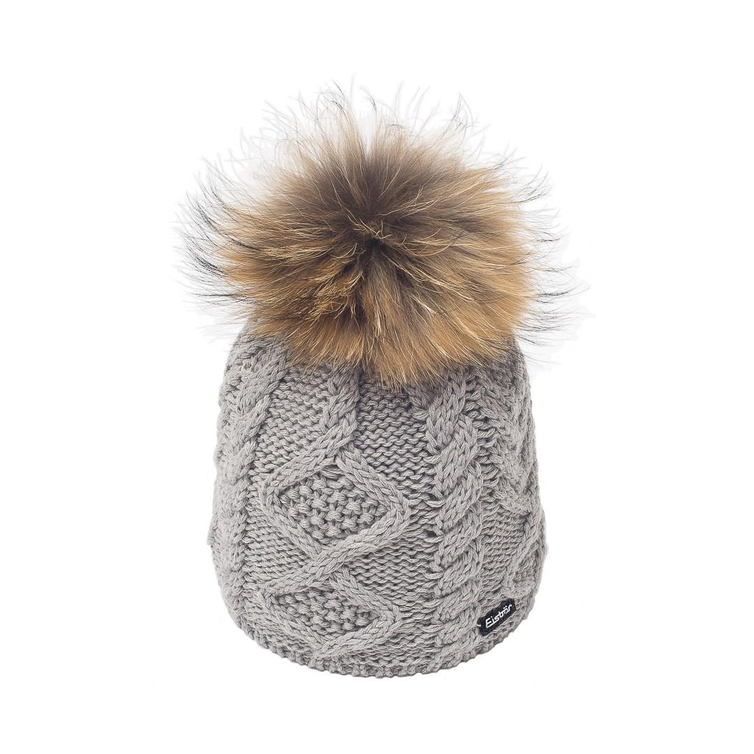 33eb917eb7b eisbar mirella gris bonnet pompon fourrure