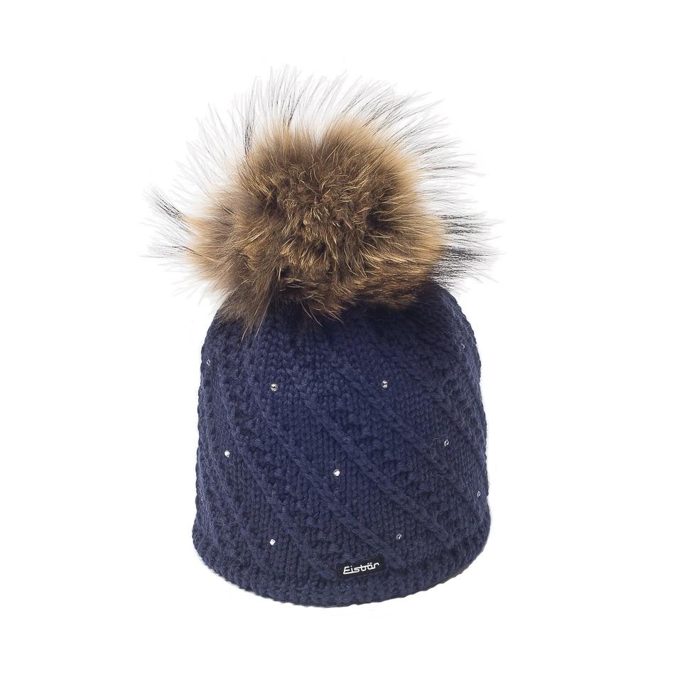 vente chaude réel boutique pour officiel beaucoup de styles Sinja Cream Dark Purple Fur Bobble Hat