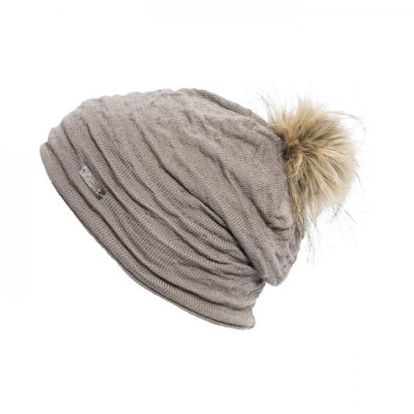 bonnet pompon fausse fourrure Eisglut Romy gris
