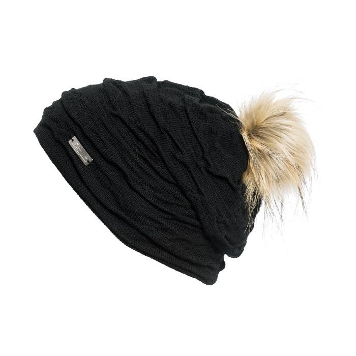 bonnet romy noir pompon fausse fourrure bonnet eisglut. Black Bedroom Furniture Sets. Home Design Ideas