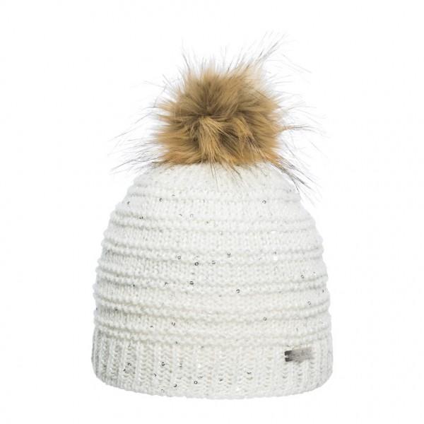 bonnet pompon fausse fourrure Eisglut loretta blanc