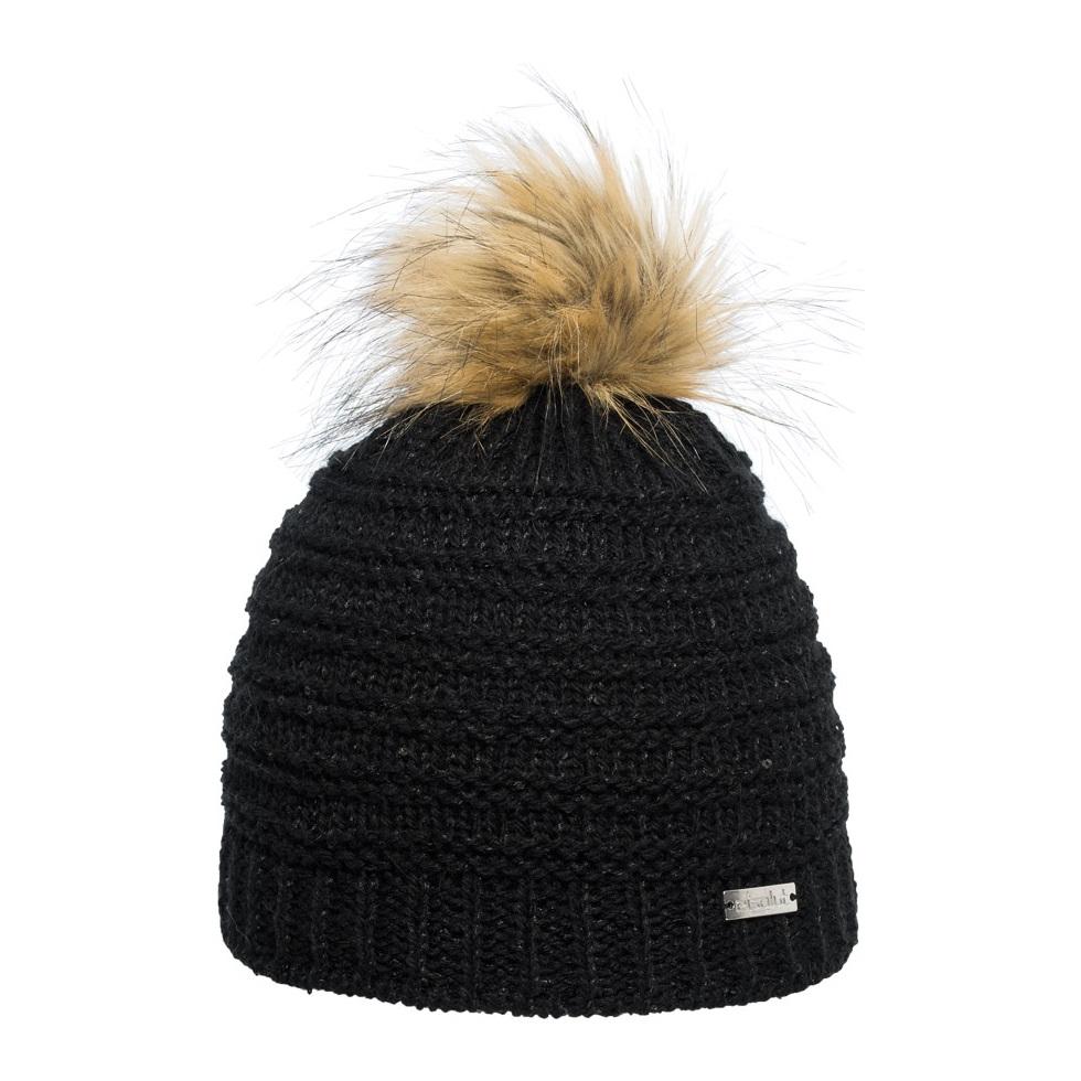 bonnet loretta noir pompon fausse fourrure bonnet eisglut. Black Bedroom Furniture Sets. Home Design Ideas