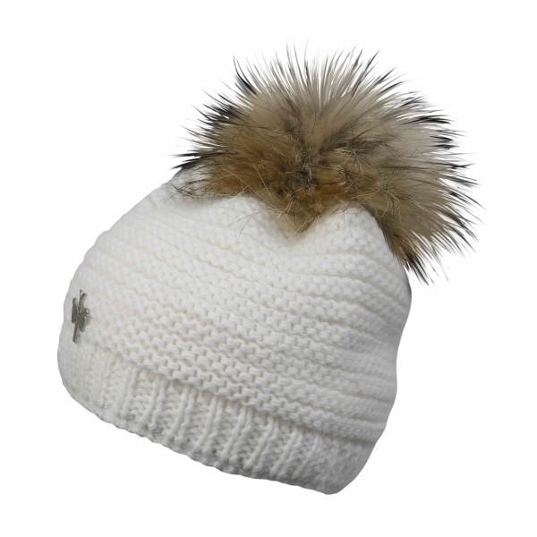 pipolaki bonnet pompon fourrure 5840 naiade 061 blanc
