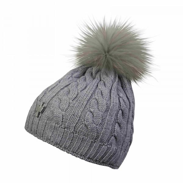 pipolaki bonnet pompon fourrure gris princesse