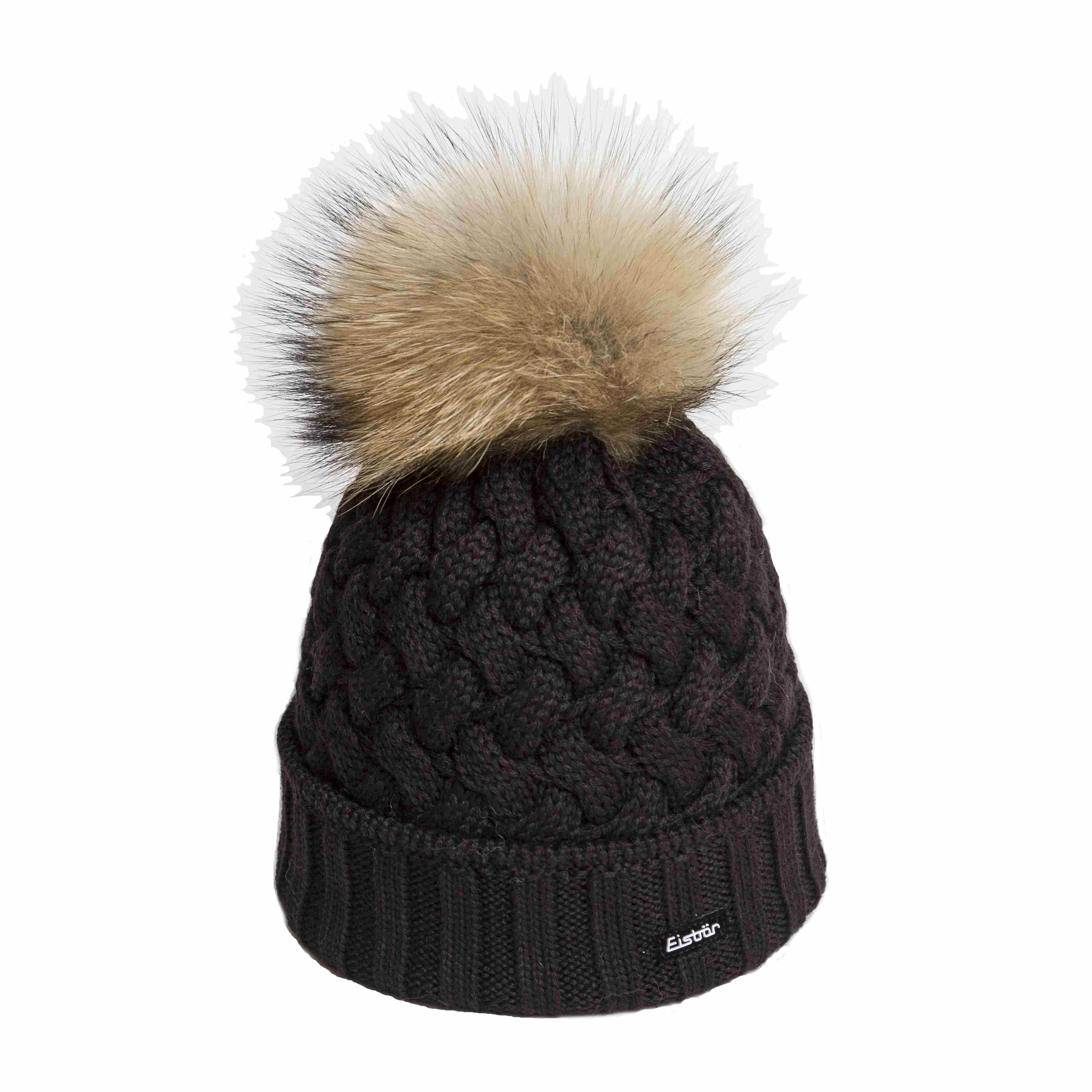 12016733241 Eisbar Bonnet Alice Noir Pompon Fourrure