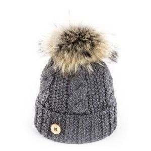 U Capa Beauty Gris bonnet pompon fourrure