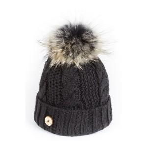 U Capa Beauty Noir bonnet pompon fourrure