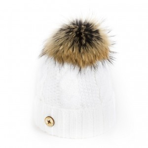 U Capa Beauty blanc bonnet pompon fourrure