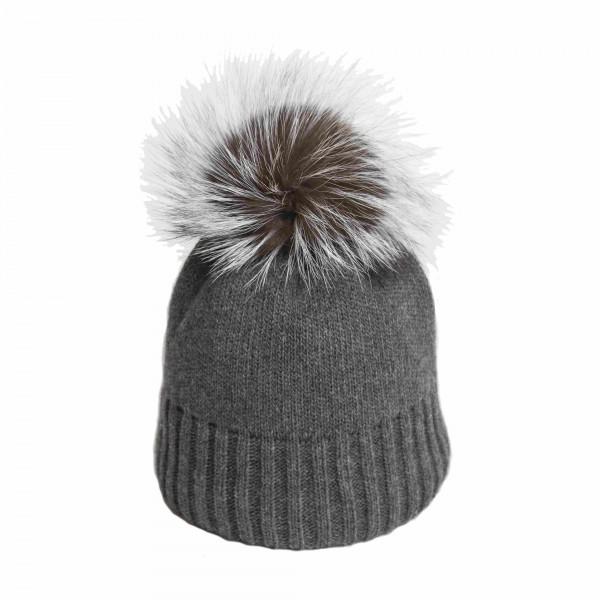 U Capa Fancy Gris bonnet pompon fourrure gris