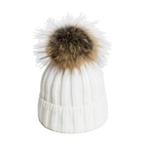 U Capa Lexus Blanc bonnet pompon fourrure